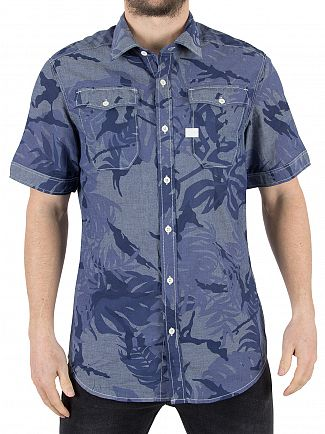 G-Star Rinsed/Sartho Blue Landoh Short Sleeved Slim Fit Shirt