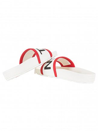 Hunter White Logo Slider Flip Flops