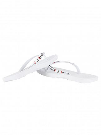 Hunter White Original Exploded Logo Flip Flops