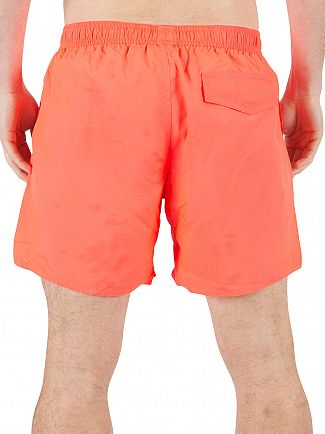 Emporio Armani Fluo Red EA7 Logo Swim Shorts