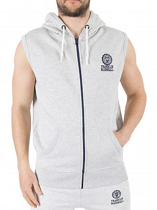 Franklin & Marshall Light Grey Melange Sleeveless Zip Logo Hoodie