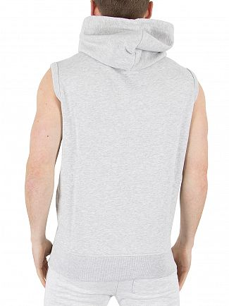 Franklin & Marshall Light Grey Melange Sleeveless Zip Logo Hoodie