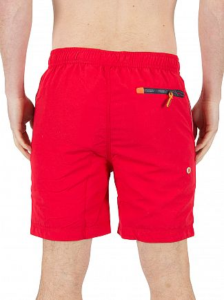 Superdry Hyper Red Premium Water Polo Logo Swimshorts