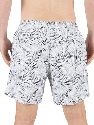 Calvin Klein White Medium Jungle Print Logo Swimshorts