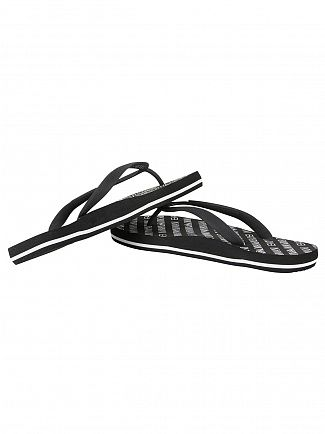 Emporio Armani Black EA7 All Over Logo Flip Flops