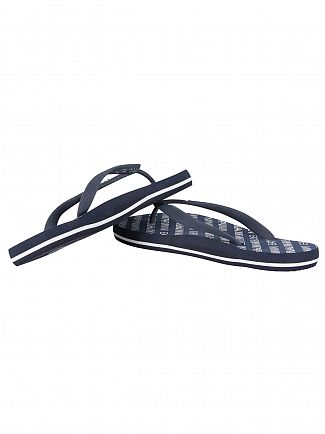 Emporio Armani Navy Blue EA7 All Over Logo Flip Flops