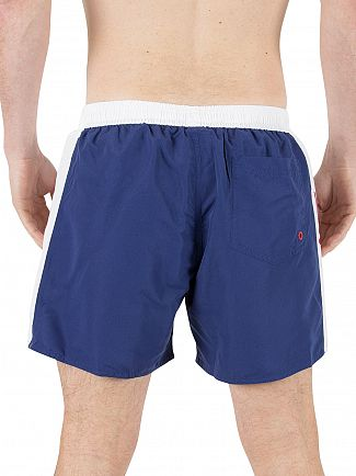 Emporio Armani Blue EA7 Stripe Logo Swim Shorts