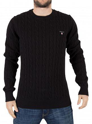 Gant Black Cotton Cable Logo Knit