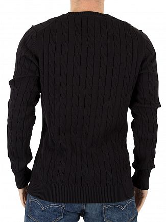 Gant Black Cotton Cable Logo Knit