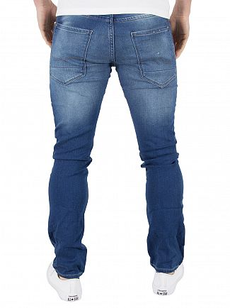 Jack & Jones Blue Denim Glenn 103 Indigo Knit Slim Fit Jeans