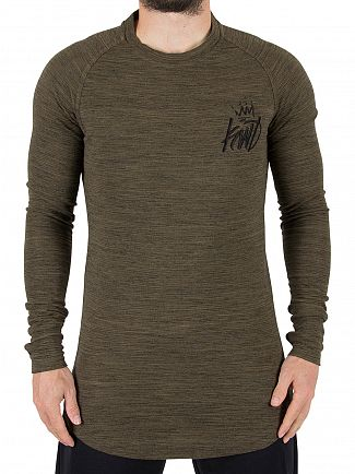 Kings Will Dream Khaki Marl Arvens Longsleeved Logo T-Shirt