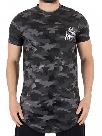 Kings Will Dream Black Camo Redbridge Multi Print Textured T-Shirt