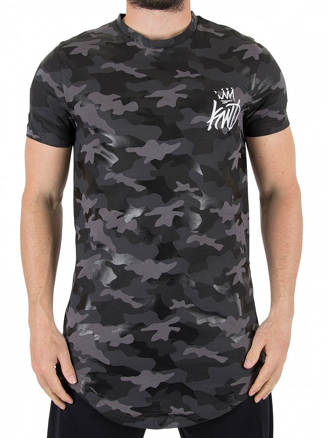 Kings Will Dream Black Camo Redbridge Multi Print Textured T-Shirt