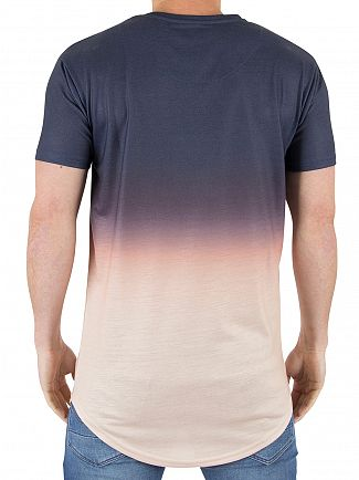 Sik Silk Navy/Peach Horizon Logo Fade T-Shirt