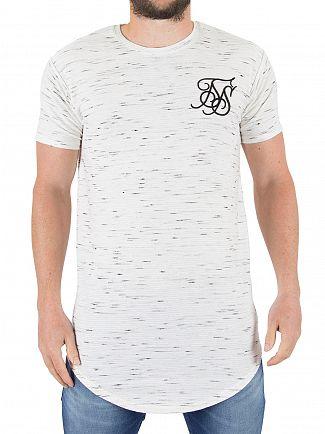 Sik Silk White Ink Jet Waffle Pattern T-Shirt