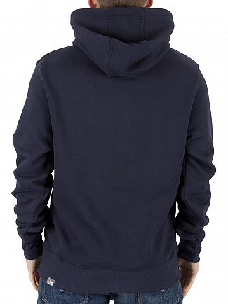 The North Face Navy/White Drew Peak Pullover Graphic Logo Hoodie