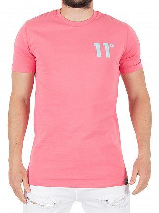 11 Degrees Pink/Blue Coloured Logo T-Shirt