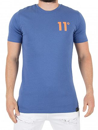 11 Degrees Blue/Orange Contrast Logo T-Shirt