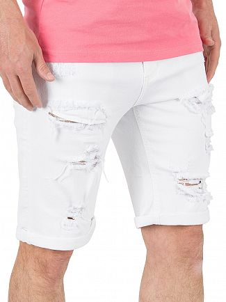 11 Degrees White Destrukt Ripped Denim Shorts