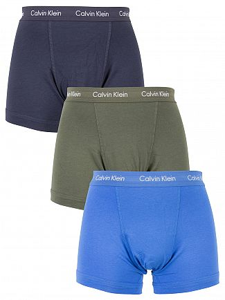 Calvin Klein Green/Navy/Blue 3 Pack Cotton Stretch Trunks