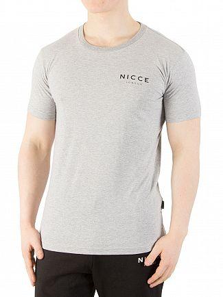 Nicce London Light Grey Marl Chest Logo T-Shirt
