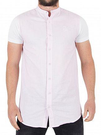 Sik Silk Pink/White Contrast Short Sleeve Shirt