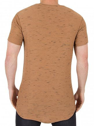 Sik Silk Beige Inject Waffle Logo Pattern T-Shirt
