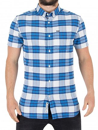Superdry Campus Blue Check Ultimate University Shortsleeved Oxford Shirt
