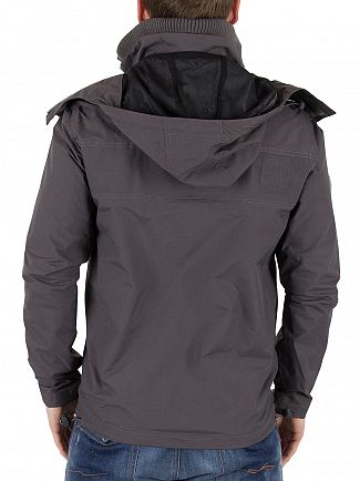 Superdry Dark Charcoal/Black Hooded Cliff Emboss Hiker Jacket