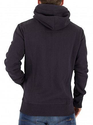 Superdry Truest Navy Orange Label Logo Zip Hoodie