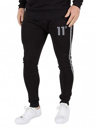11 Degrees Black Reject Stripe Logo Skinny Joggers