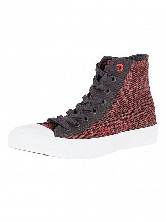 Converse Almost Black/Ultra Red/White CTAS II HI Trainers