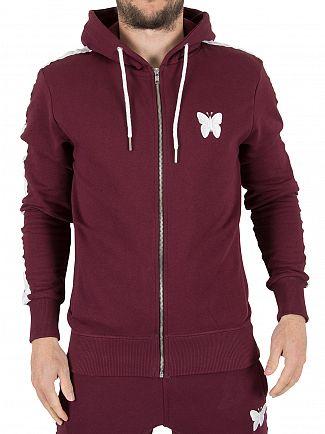 Good For Nothing Burgundy Logo Zip Stripe Sleeves Hoodie