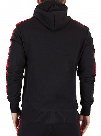 Good For Nothing Black/Red Logo Zip Stripe Sleeves Hoodie