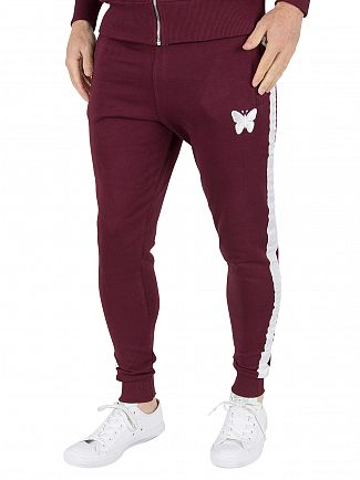 Good For Nothing Burgundy Stripe Logo Joggers