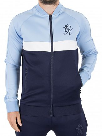 Gym King Navy/White/Blue Baseball Collar Logo Zip Jacket