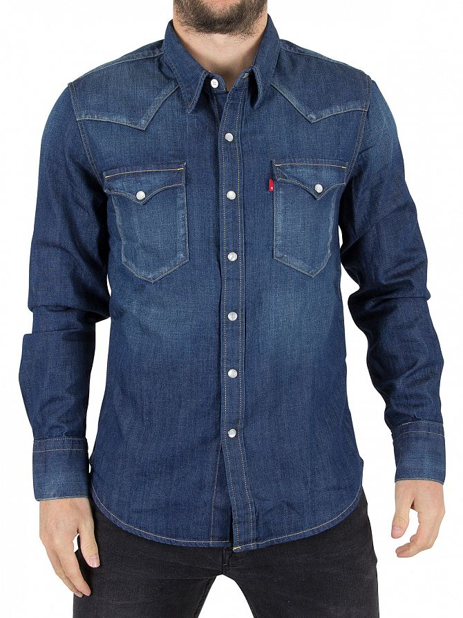 Levi 39 S Dark Blue Barstow Western Carbon Denim Shirt