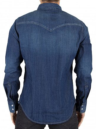 Levi's Dark Blue Barstow Western Carbon Denim Shirt