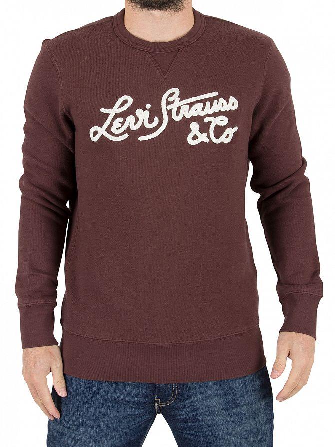 Levi's Burgundy Wordmark Stitch Graphic Sweatshirt