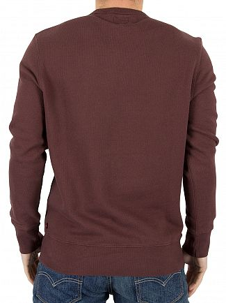 Levi's Burgundy Wordmark Stitch Graphic Sweatshirt