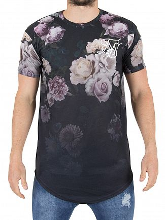 Sik Silk Navy Garden Fade Logo T-Shirt