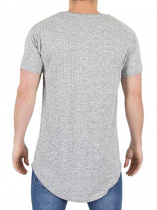 Sik Silk Grey Marl Rib Logo T-Shirt