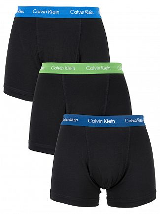 Calvin Klein Blue/Green/Navy 3 Pack Logo Waistband Trunks