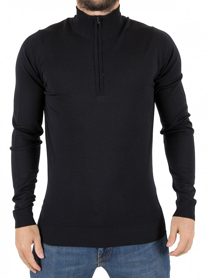 John Smedley Black Barrow Longsleeved Zip Knit