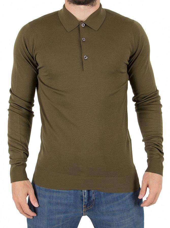 John Smedley Kielder Green Belper Longsleeved Polo Shirt