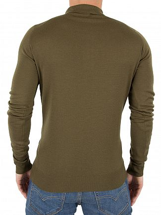 John Smedley Kielder Green Belper Longsleeved Polo Shirt