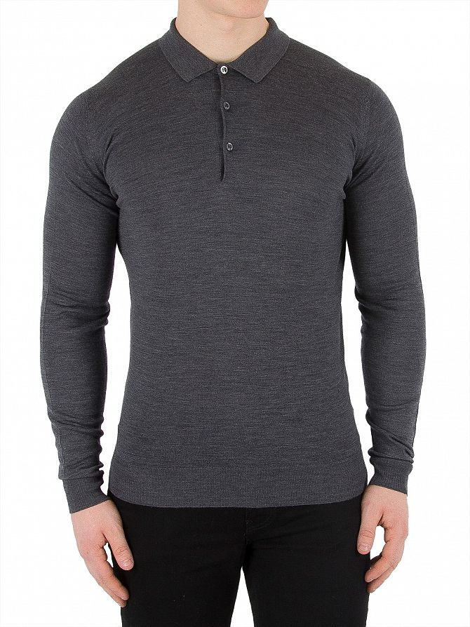 John Smedley Charcoal Belper Longsleeved Polo Shirt
