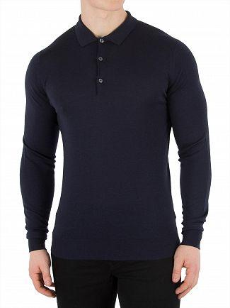 John Smedley Midnight Belper Longsleeved Polo Shirt