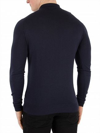 John Smedley Midnight Belper Longsleeved Polo Shirt