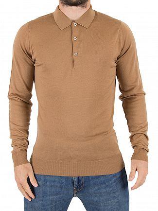 John Smedley Camel Belper Longsleeved Polo Shirt
